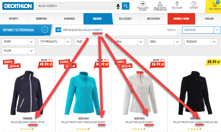 Ecommerce site search example with synonyms