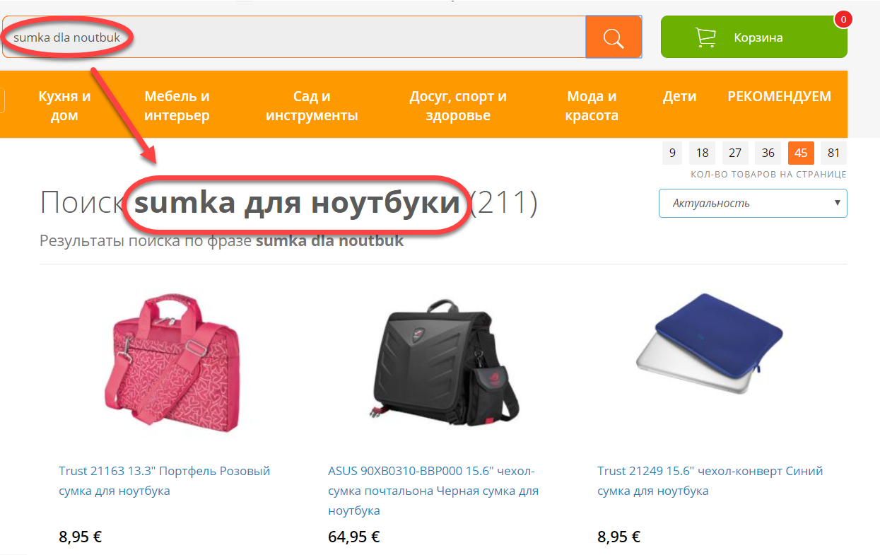 Ecommerce site search transliteration example