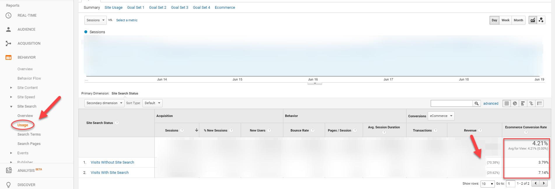 Ecommerce site search revenue