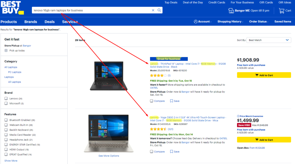 Bestbuy eComemrce site search best preactice