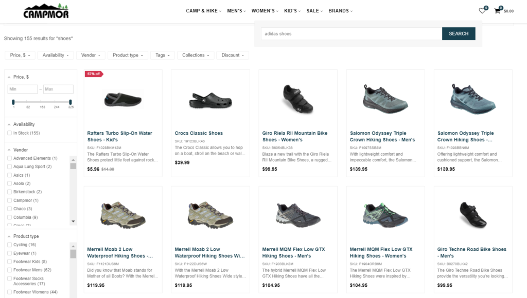 "Online store, which set synonym ""Adidas shoes = shoes"" are potentially damaging their conversions"