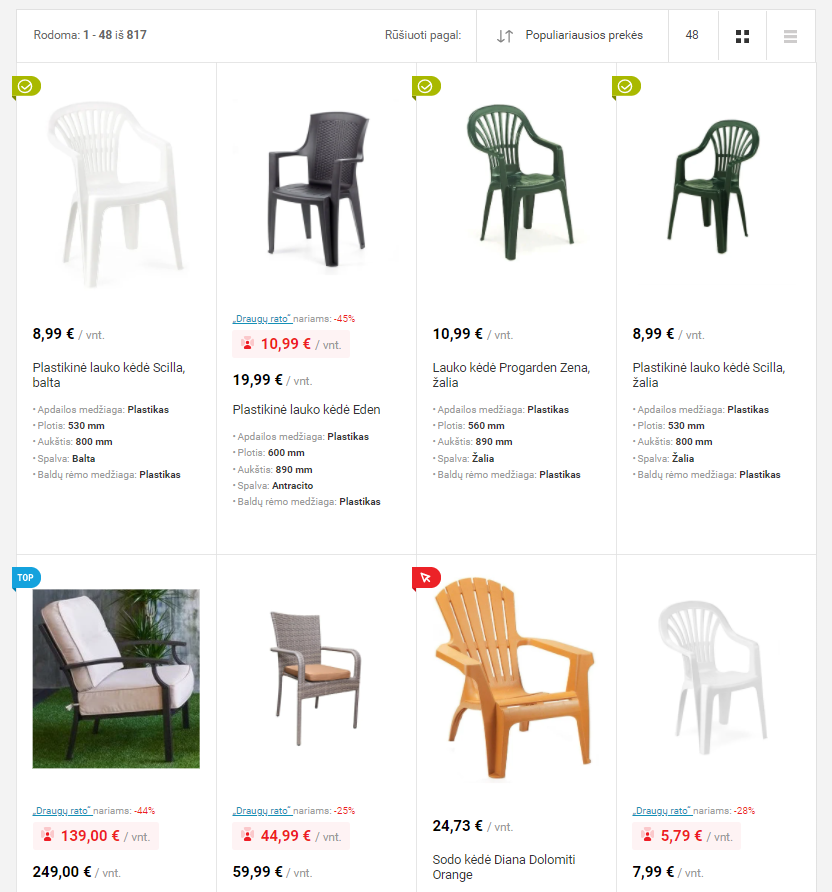"Properly merchandised relevant results from our client Senukai.lt for a query ""lawn chair"""