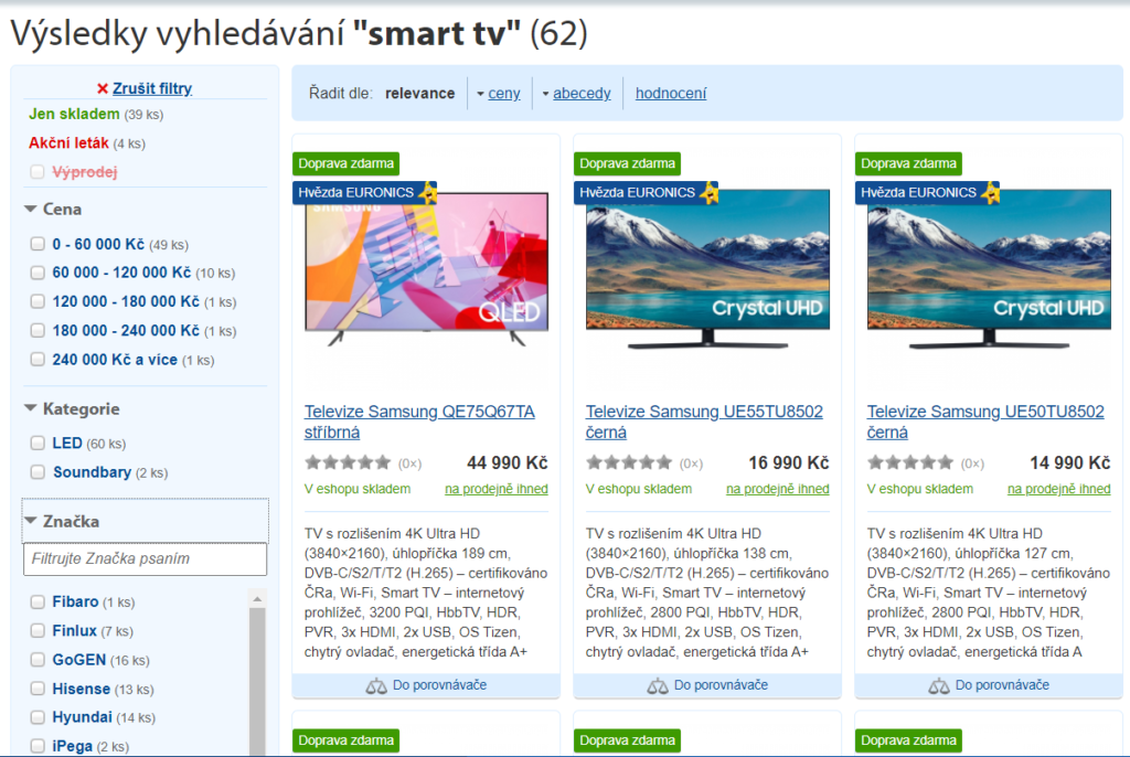 "Personalized search merchandising results for ""smart TV' query for user, who is into Samsung smart TVs"